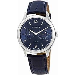 Reloj Montblanc hombre 116244automático acero quandrante Azul Correa Piel