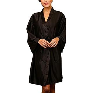 Dolamen Unisex Women's Men's Dressing Kimono Gown, Luxurious Silk Satin Short Robe Bathrobe Bridesmaid Wedding Nightwear Pyjamas Sleepwear, Bust 132cm, 51.97 Inch, Large Size For Everyone (Black)