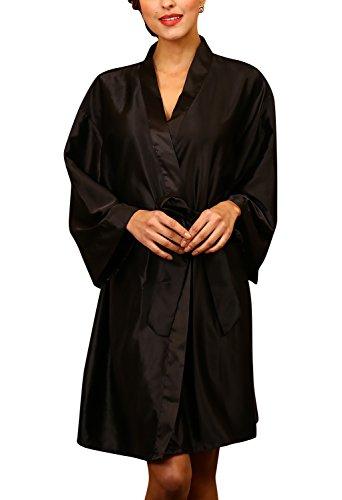 Dolamen Unisex Mujer Hombre Vestido Kimono Satén, Camisón para mujer, Lujoso Robe Albornoz Dama de honor Ropa de dormir Pijama, Busto 132 cm, 51,97inch, de gran tamaño para todos (Negro)
