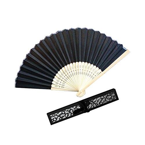 Kviklo Handfächer Seide Fächer Hochzeit Party Orient Kostüm Favors Folding Chinesisch/Japanisch Requisiten-Geschenk Openwork Boxed(Schwarz,21cm) (Art Deco Kostüm Schmuck)
