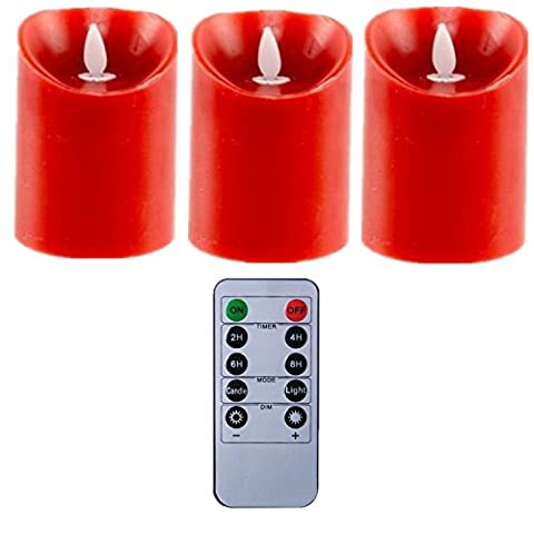 REMOTE RED Moving Wick Flammenlose Pillar LED Wachskerze 34 Zoll Set von 3