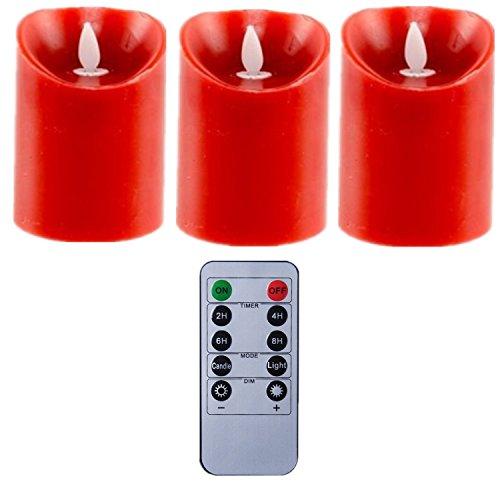 REMOTE ROJO Movimiento Wick sin llama Pilar LED vela de cera 34 pulgadas conjunto de 3