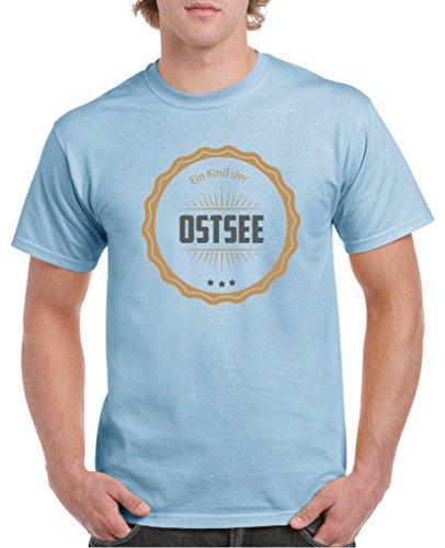 Comedy Shirts - Ein Kind der Ostsee - Herren T-Shirt - Royalblau/Hellbraun-Grau Gr. XXL