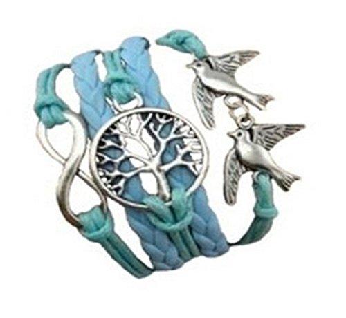 CargoMix Armband Unendlichkeit Geflochtene Blau Leder-Seil / Infinity / Vögel /Baum / Armband Charm Mode-Legierung Damen Schmuck (Schmuck Infinity Charms)