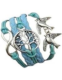 CargoMix Armband Unendlichkeit Geflochtene Blau Leder-Seil / Infinity / Vögel /Baum / Armband Charm Mode-Legierung Damen Schmuck