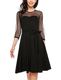 Zeagoo Elegant Damen Kleider Retro Vintage 50er Jahr Swing Rockabilly Kleid Cocktailkleid Abendkleid Ballkleid