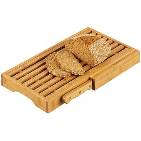 Zeller 25225 - Tabla para cortar pan con cuchillo, 39.5 x 23.5 x 4 centímetros, madera de bambú