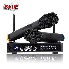 Idea Regalo - LESHP S9-UHF - Microfono senza fili Bluetooth 4.1, professionale, portatile, con 2microfoni karaoke per karaoke, festa, conferenza, spettacolo, bar, riunione, studio