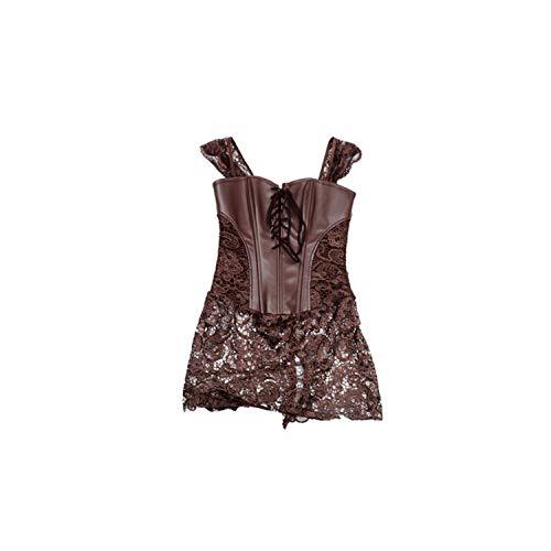 Pevv Wason women corsets Korsett sexy Frauen Steampunk Korsettkleid Leder Korsett Intimacy Kleidung sexy, braun, S