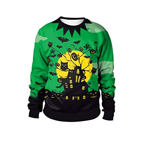 URVIP Unisex Halloween Pullover Long Sleeve Kapuzenpullover 3D Druck Muster Sweatshirt Pullover WB102-003 XXL (2019 Für Einfache Paare Halloween-kostüme)