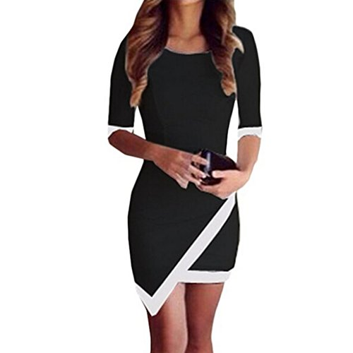 Elecenty Damen A-Linie Sommerkleid Irregulär Kleider Bandage Bodycon Frauen Rundhals Kurzarm Mode Kleid Minikleid Kleidung Cocktailkleider Abendkleider (S, Schwarz)