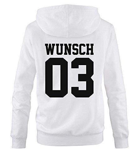 Comedy Shirts - WUNSCH - Damen Hoodie - Weiss / Schwarz Gr. M