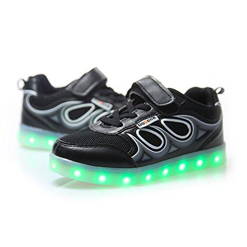 DoGeek Scarpe LED bambini Bambina 7 Colore USB Carica Sneakers di Luci Scarpe, Mejor dei Una Taglia Unisex Bambino Scarpe Con Luci Scarpe Led Luminosi Sneakers Con Luce Nella Suola Bright Tennis Shoes Nero