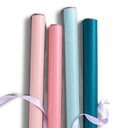 RUSPEPA Kraft Reversible Geschenkpapier - 4 Rollen (Nude + Violet, Mint + Gelb, Teal + Orange, Pfirsich-Puff + Blau) -76cm x 305cm pro Rol