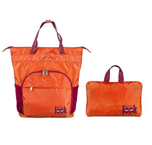 Faltbarer Rucksack, 2 in 1 Rucksack Schulranzenvon Onforward, Wasserresistente Ultraleicht mehr Stauraum Handlich Folding Daypack für Outdoor Wandern Camping Reisen Orange (Faltbare Nylon Tasche)