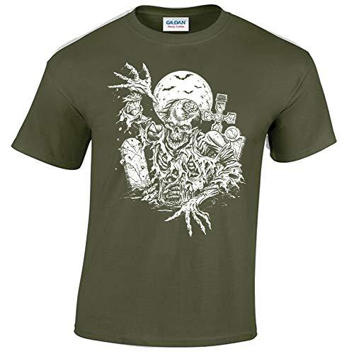 Zombie t-Shirt Uomo Tomb Tomba Zombie Halloween Gotico Rock Punk Horror Regalo