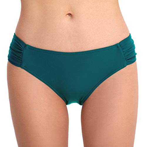 FEOYA Damen Faltig Bikinislip Slip Badeshorts Badeslip Bottom Unterteil Panty Höschen Hipster Brazilian Kurze Hose Rüsche Design Grün S - Hipster Kurze Bikini Bottom