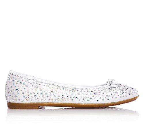Miss Grant MISS GRANT - Weiße Ballerina aus Stoff, eleganter und sehr faszinierender Stil, voll mit dekorativen Strass bedeckt, kleine Ton-in-Ton Schleife auf der Vorderseite, Mädchen, Damen-28