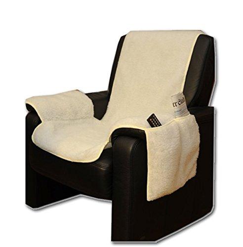 Sesselschoner Sesselüberwurf Sesselauflage Sesselbezug Polster kuschelweich in Lammflor-Optik - mit seitlichen Taschen - Natur