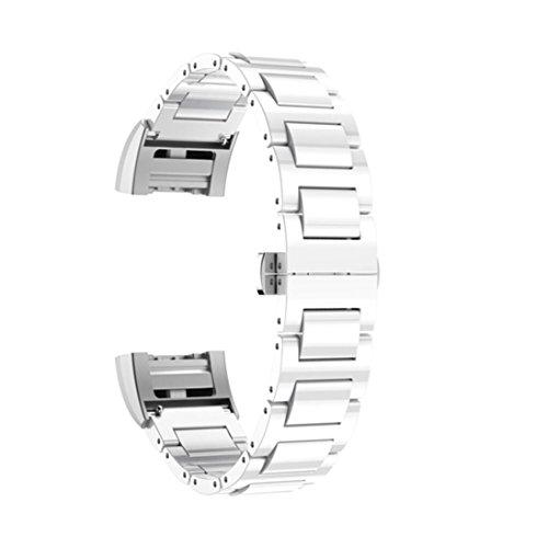 Preisvergleich Produktbild Sansee Keramik Edelstahl Keramik Schmetterling Verschluss Strap Ersatz Armband für Fitbit Charge 2 (Weiß)