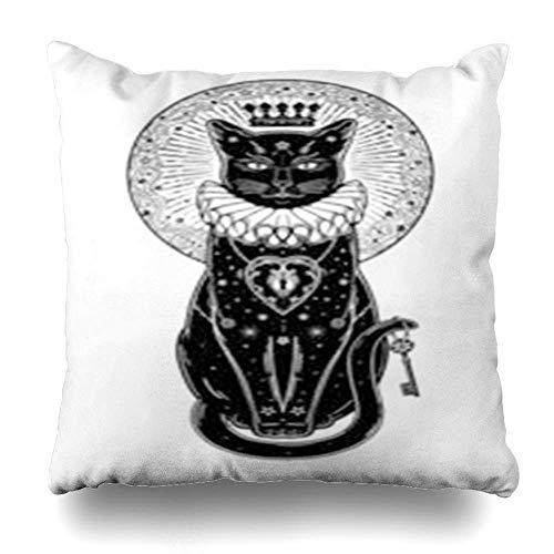 Xukmefat Boho Schwarze Katze Silhouette Porträt geheimer Schlüssel der Mond ideale Halloween Reißverschluss Throw Pillow Cover
