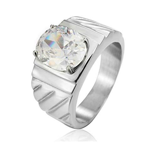 Aeici Ring Edelstahl Herren Einzelner Ehering aus Poliertem Twill mit Zirkon Ring Silber Größe 54 (17.2) (Twill Kissen)