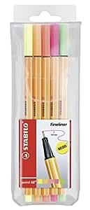 STABILO point 88 - Pochette de 5 stylos-feutres pointe fine - Couleurs fluo