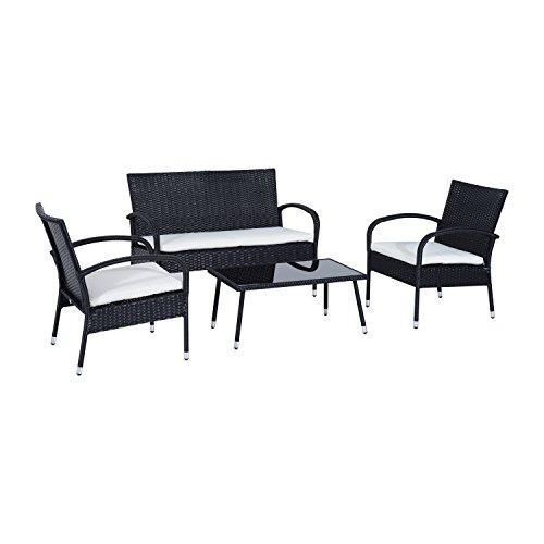 Ensemble Salon de Jardin 4 Places : canapé, 2 fauteuils et Table Basse Plateau Verre trempé résine tressée 4 Fils Imitation rotin Noir Coussins Blanc