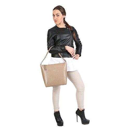 Trussardi Sac bandoulire femme avec bretelles, véritable cuir de veau Fabriqué en Italie 32x31x13 Cm Mod. 76B139SM Boue