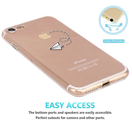 iPhone 5 Case, Walmark Amusing Whimsical Design Clear Bumper TPU Soft Case Rubber Silicone Skin Cover for iPhone 5 inch - Paper Airplane