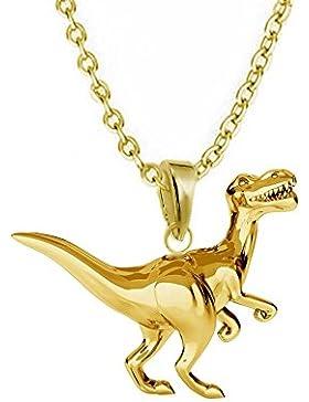 GH1a 3D Dinosaurier ANHÄNGER mit KETTE 925 Echt Silber + 24K Vergoldet Dino