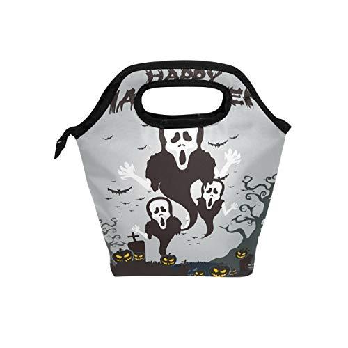 hunihuni Halloween-Ghost Kürbis isolierte Thermo-Lunch-Tasche, Lunchbox mit Reißverschluss für Schule, Büro, Picknick