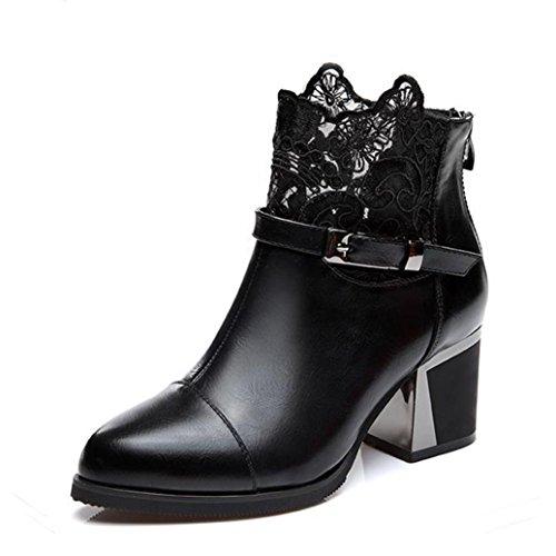 Metall-heel Stiefel (Stiefel Ankle Boots Damen, Sunday Frauen Metall Schnalle Zip Plaid Spitze Chunky Mode Bequeme Schuhe (Schwarz, 36 EU))