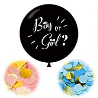 Party R Us Giant Gender Reveal, Large Gender Reveal Balloon (92cm or 36in) with confetti