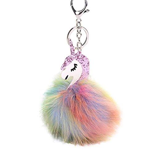 Byste coniglio pelliccia volpe portachiavi borsa felpa unicorno auto chiave anello fascino pendente regalo (porpora)