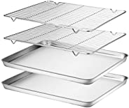 Wildone Baking Sheet & Cooling Rack Set [2 Sheets + 2 Racks], Stainless Steel Cookie Pan with Cooling Rack