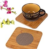 Navisha Set Of 2 Exquisite Quality Bamboo Insulation Heat Table Pad Coasters - Eco-Friendly Tableware In Rectangle Shape(17 * 17Cm)