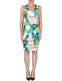 05c0df99b32 Joseph Ribkoff Tropical Print Off Shoulder Dress with Strap Accents Style  182749