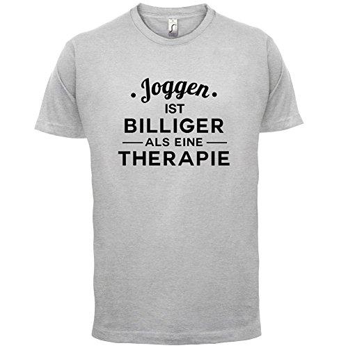 Joggen ist billiger als eine Therapie - Herren T-Shirt - 13 Farben Hellgrau