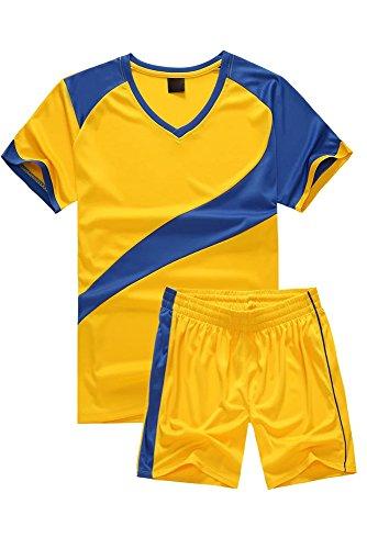 KINDOYO Kinder Herren Fußball Teamtrikots Oberteile und Shorts Set Sport Training Wettbewerb Sportbekleidung, Gelb/S-Kinder