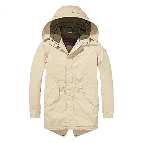Scotch & Soda Herren Long Hooded Cotton/Elastane Quality with Quilted Li Parka, Sand, Mittel -
