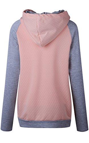 ECOWISH Damen Kontrastfarbe Pulli Pullover Rollkragen Sweatshirt Kapuzenpulli Top Hoodies Rosa M - 5
