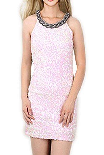 URqueen Women Sequin Embellished Clubwear Mini Cocktail Dress white
