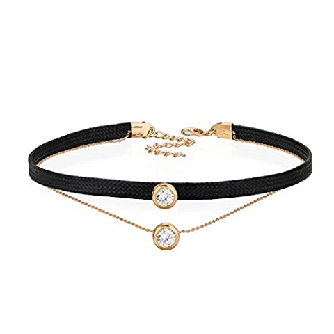 Solitaire Diamond Pendant Choker Gold Tone Black Leather Double Layer Jewelry Necklace For Women
