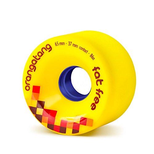 Orangatang Fat Free 65 mm 86a Freeride Longboard Skateboard Wheels (Yellow, Set of 4) (w/o bearings, Yellow, 86a) -
