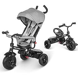 besrey Triciclo Bebé, Triciclo Evolutivo 4 En 1 Trike Bicicleta para Bebe Nino (1-6 año) con Mango y Cubierta de Lluvia, función Silla de Paseo