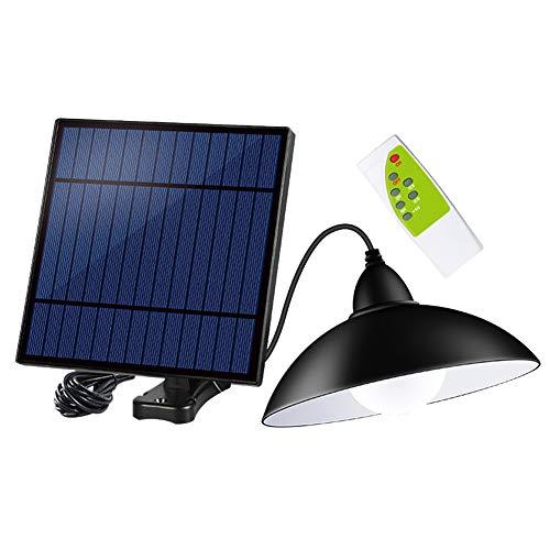GCDN 12 LED Solar Licht, Fernbedienung Solar Licht, wasserdichte Outdoor Kronleuchter, 3-stufige Helligkeit einstellbar, Solar Panel mit Licht Geeignet für Gartenhaus Dachfenster(Black)