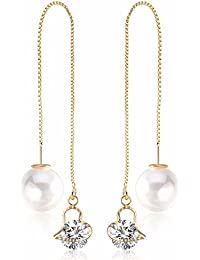 Mac Lawrence Gold Colour Crystal Long Chain Pearl Drop Party Wear Earrings For Girls And Women