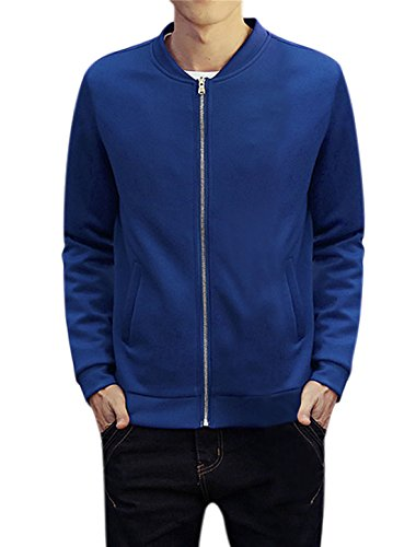 M (US 40) , Royal Blue : Generic Men Long Sleeves Stand Collar Zip Up Casual Jacket