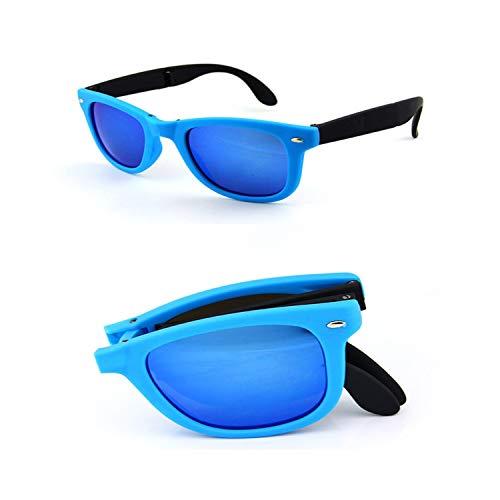 Vikimen Sportbrillen, Angeln Golfbrille,8 Colors Folding Sunglasses Man Women Brand Design Folded Eyewear With Original BOX Foldable Glasses Unisex Sun Glasses Mirrored Blue no box -